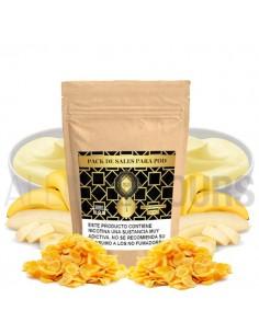 Una deliciosa crema custard acompañado de  plátano confitado como nunca antes habíamos visto tratar en un líquido de vapeo.
